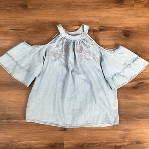 Cold Shoulder Chambray Embroidered Blouse